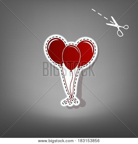 Balloons set sign. Vector. Red icon with for applique from paper with shadow on gray background with scissors.