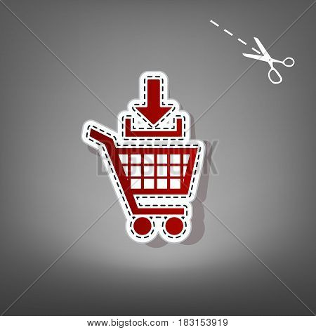 Add to Shopping cart sign. Vector. Red icon with for applique from paper with shadow on gray background with scissors.