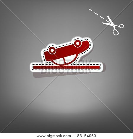 Crashed Car sign. Vector. Red icon with for applique from paper with shadow on gray background with scissors.