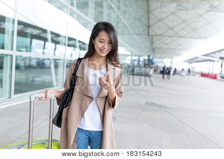 Woman go travel with luggage