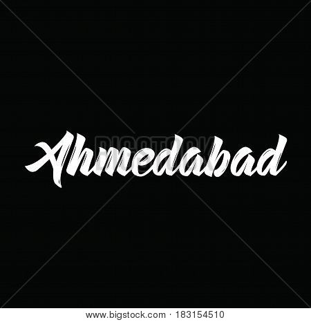 ahmedabad, text design. Vector calligraphy. Typography poster. Usable as background.
