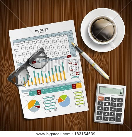 Planning family budget. Financial document with a calculator and coffee on the table. Stock vector illustration.