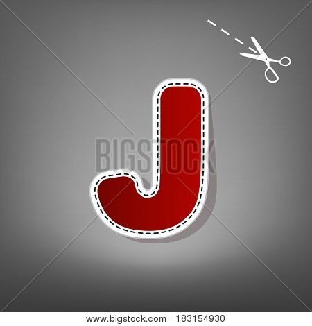 Letter J sign design template element. Vector. Red icon with for applique from paper with shadow on gray background with scissors.