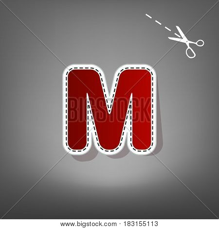Letter M sign design template element. Vector. Red icon with for applique from paper with shadow on gray background with scissors.