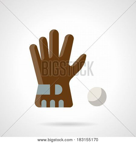 Professional golf accessories and wear for golfers. Single brown glove and ball. Flat color style vector icon.