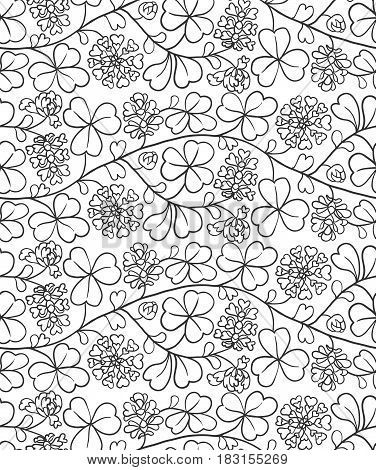 Summer seamless natural pattern with flowers and leaves. Black and white background with clover