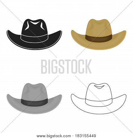 Cowboy hat icon in cartoon style isolated on white background. Hats symbol vector illustration.