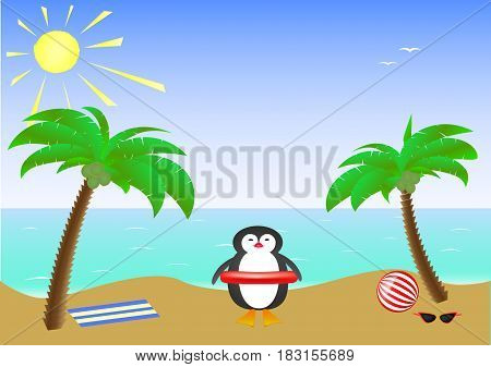 Two palm trees and a cute smiling penguin wearing sunglasses on a sandy island in the sea