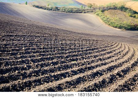 Background of newly plowed field ready for new crops.