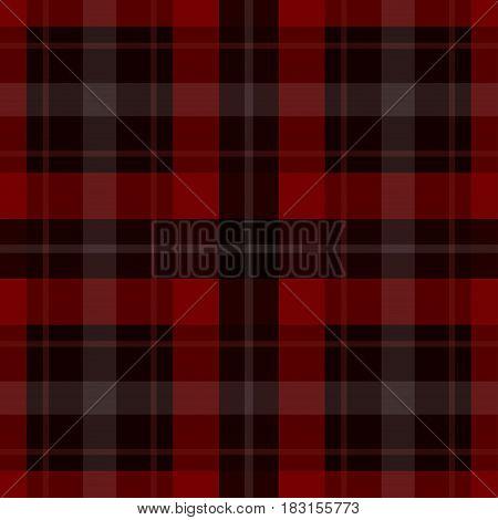 seamless illustration - red black tartan with white stripes