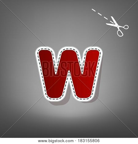 Letter W sign design template element. Vector. Red icon with for applique from paper with shadow on gray background with scissors.
