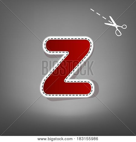 Letter Z sign design template element. Vector. Red icon with for applique from paper with shadow on gray background with scissors.
