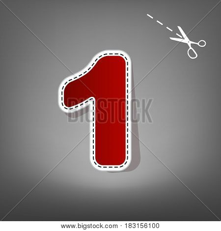 Number 1 sign design template element. Vector. Red icon with for applique from paper with shadow on gray background with scissors.
