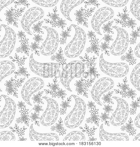 Paisley black and white floral pattern. Seamless pattern can be used for fabrics paper craft projects web page background surface textures. Abstract vintage seamless background