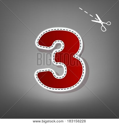 Number 3 sign design template element. Vector. Red icon with for applique from paper with shadow on gray background with scissors.