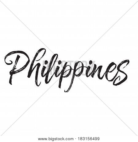 philippines, text design. Vector calligraphy. Typography poster. Usable as background.