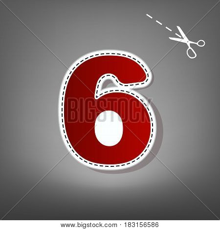 Number 6 sign design template element. Vector. Red icon with for applique from paper with shadow on gray background with scissors.