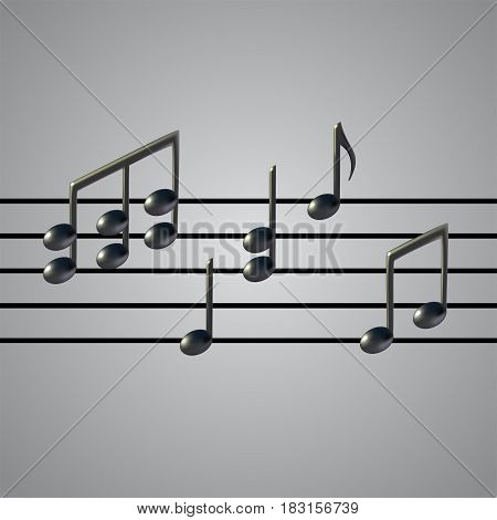 Music Staff and notes on grey background. 3d realistic vector illustration. Gradient mesh.