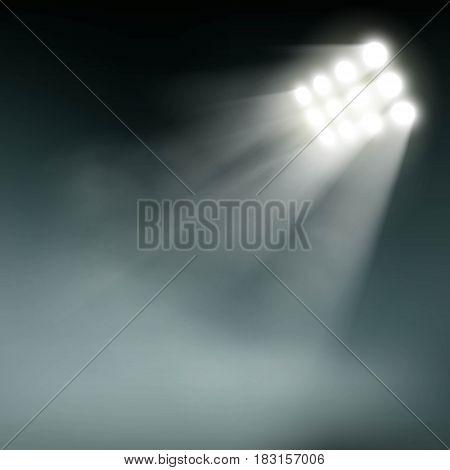 Stadium lights on a dark background. Stock vector illustration.
