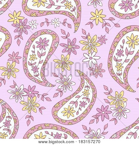 Paisley floral pink pattern. Seamless pattern can be used for  fabrics, paper, craft projects, web page, background surface textures. Abstract vintage seamless background