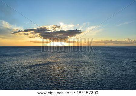Sunset over Caribbean Sea. Roseau in Dominica