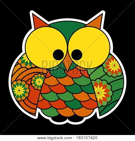 sticker - cute colored owl with big yellow squinting eyes isolated in front of a black background