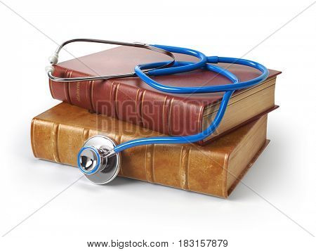 Stethoscope on medical books isolated on white, Medicine and medical education concept. 3d illustration