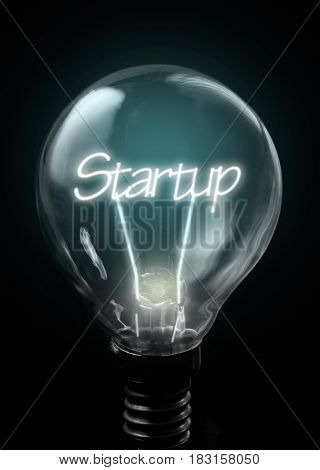 Startup lit up inside a light bulb