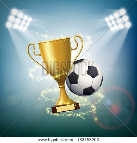 Soccer ball with the golden cup of championship. Stock vector illustration.