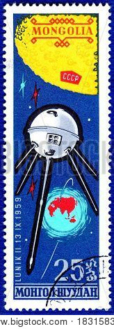 MONGOLIA - CIRCA 1963: Postage stamp printed in Mongolia shows Soviet space satellite