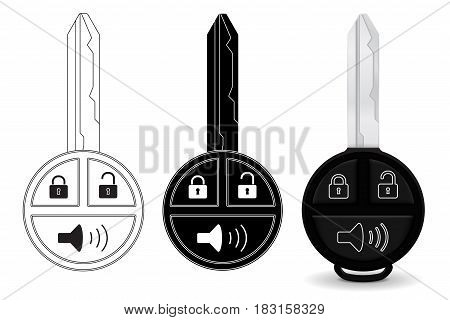 Car key. Flat icon and 3d illustration. Vector isolated on white background