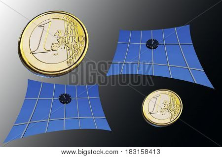 coin 1 euro on a grey background