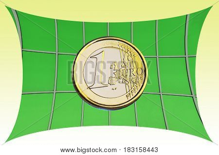coin 1 euro on a green background