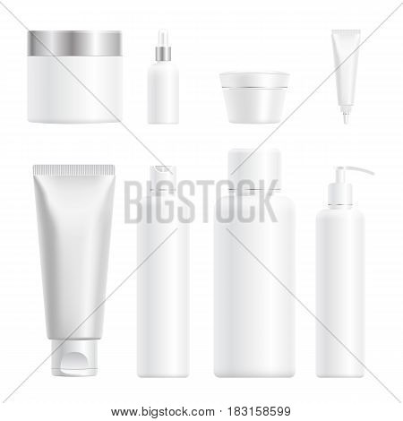 Realistic Cosmetic Bottle Mock Up Set Isolated Pack On White Background. Cosmetic Brand Template. Sh