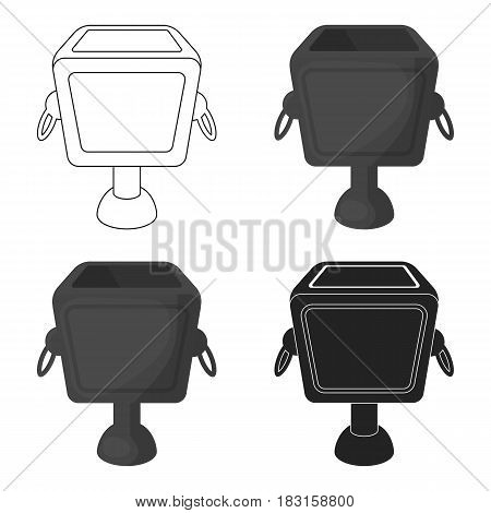 Garbage can icon in cartoon style isolated on white background. Park symbol vector illustration.