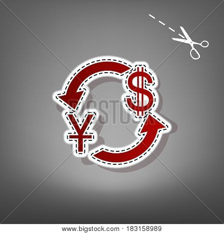 Currency exchange sign. China Yuan and US Dollar. Vector. Red icon with for applique from paper with shadow on gray background with scissors.