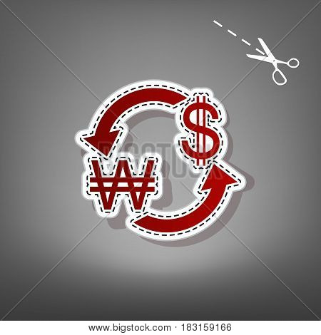 Currency exchange sign. South Korea Won and US Dollar. Vector. Red icon with for applique from paper with shadow on gray background with scissors.