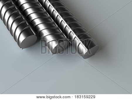 Reinforcement bars stack on gray background. 3d rendering illustration. Close-up poster