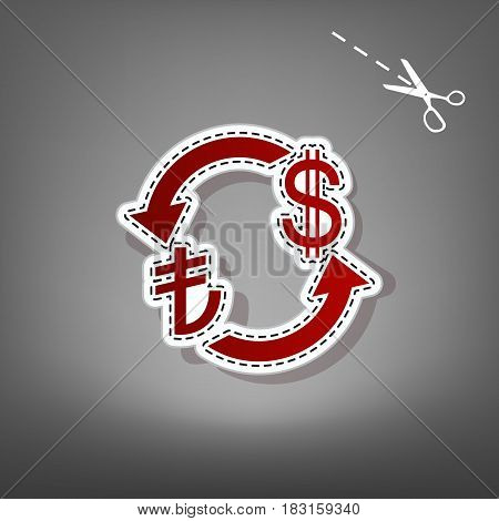 Currency exchange sign. Turkey Lira and US Dollar. Vector. Red icon with for applique from paper with shadow on gray background with scissors.