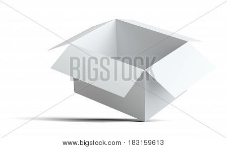White open blank cardboard box. The box is on the corner. Isolated on white background with shadow. 3d illustration