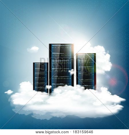Cloud computing. Server for data storage. Technology background. Stock vector illustration.