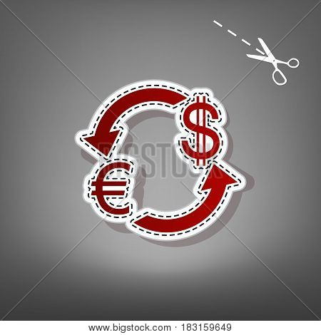 Currency exchange sign. Euro and US Dollar. Vector. Red icon with for applique from paper with shadow on gray background with scissors.