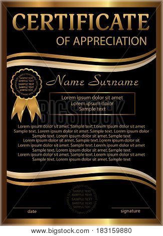 Certificate of appreciation golden and black template. Vertical background. Winning the competition. Reward. Vector illustration.