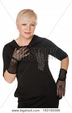 middle-aged woman in gloves on a white background