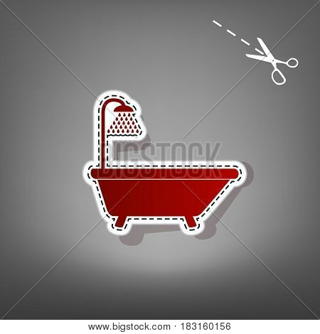 Bathtub sign. Vector. Red icon with for applique from paper with shadow on gray background with scissors.