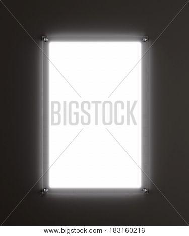 Rectangular advertising lightbox. Empty white screen. Dark gray background. 3d illustration. Template for your design