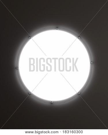 Round advertising lightbox. Empty white screen. Dark gray background. 3d illustration. Template for your design