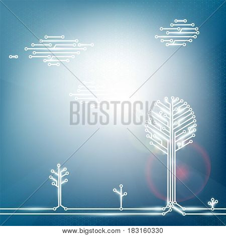 Ecological natural energy from solar panels. Technology Stock vector illustration.