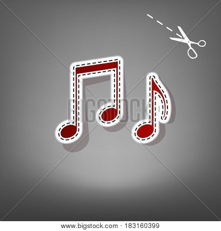 Music notes sign. Vector. Red icon with for applique from paper with shadow on gray background with scissors.