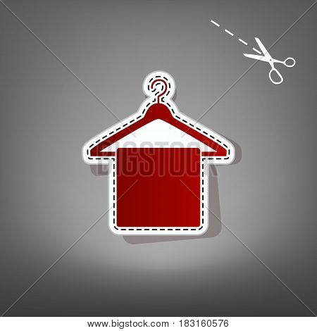 Towel On Hanger sign. Vector. Red icon with for applique from paper with shadow on gray background with scissors.